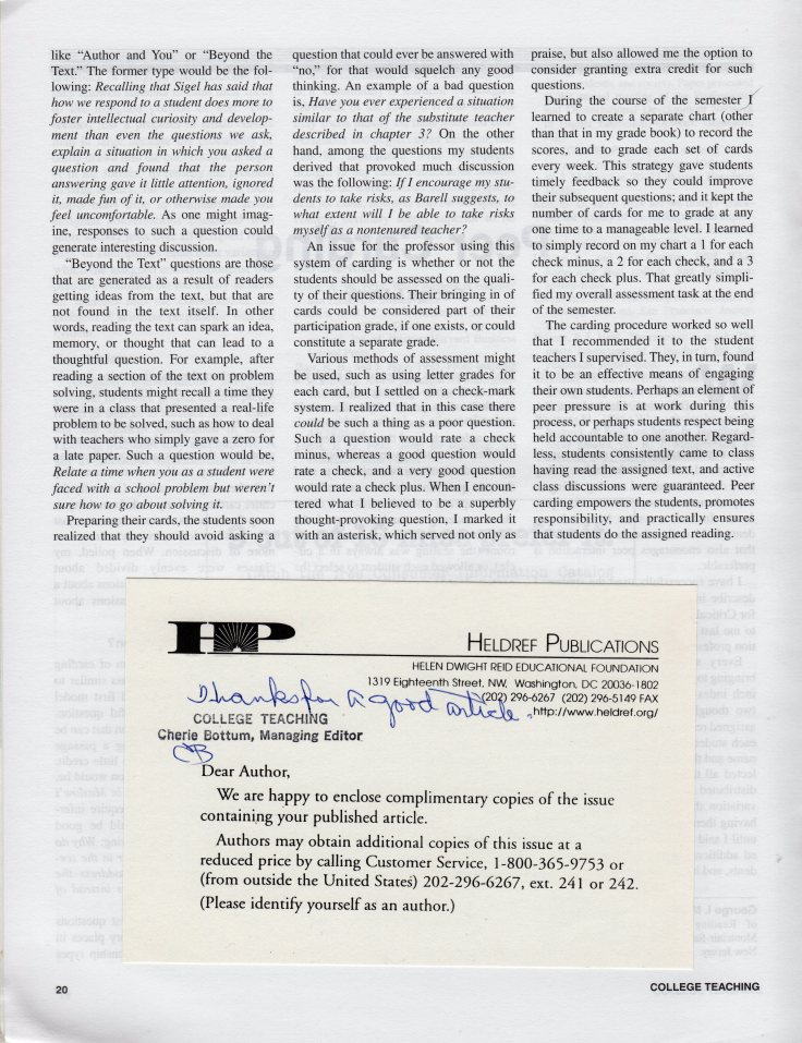 College Teaching Winter 2000 Peer Carding, p. 20 with card