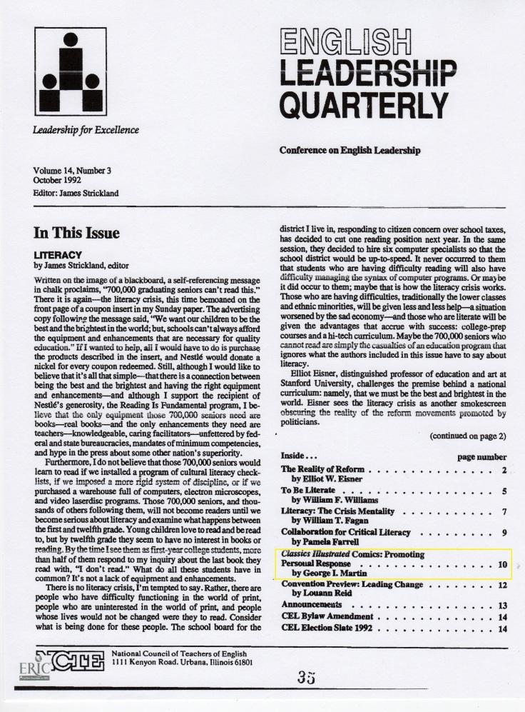 English Leadership Quarterly Ocotber 1992 cover
